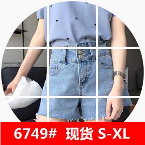 肉完ROUWANBABY180432韩版宽松学生高腰牛仔短裤女夏2018新款