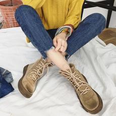 冬季新款切尔西短靴女平底靴子百搭马丁靴厚底擦色保暖短靴830-6