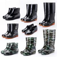 Удерживающий тепло в высокие Сапоги от дождя мужской Абразивостойкие рабочие ботинки нескользящие пластик ботинки с утеплением