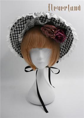 taobao agent Soufflesong exclusive design【Not stripes】OP Accessories Plaid Bonnet Bnt Rose B