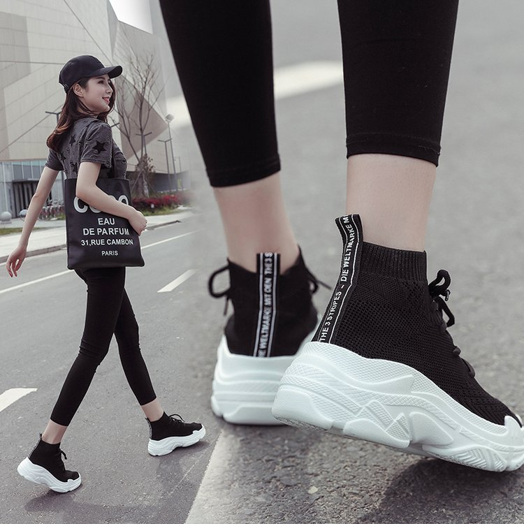 Ins siêu lửa stretch socks giày nữ Hàn Quốc phiên bản của ulzzang dày thoáng khí sinh viên hip hop hip-hop giày cao
