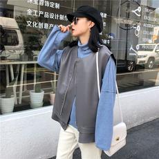 实拍实价~9228# 韩版宽松帅气拉链机车PU皮马夹