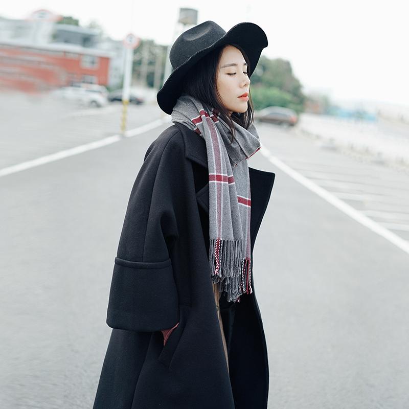 Nụ cười ấm áp AWQ văn học retro dài lỏng áo len khí đi lại áo len
