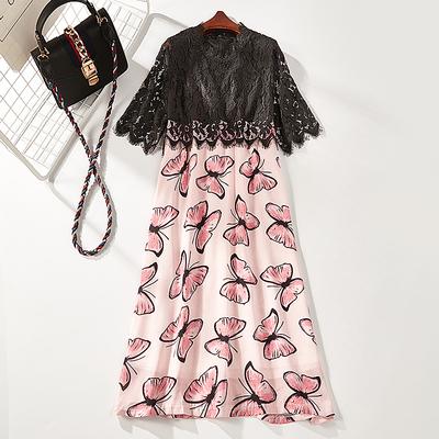 Jiedi câu chuyện mùa hè mới ren cổ áo bướm in ren khâu váy nữ 17081-21