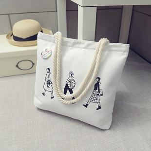 关关同款字母帆布包文艺单肩百搭环保袋