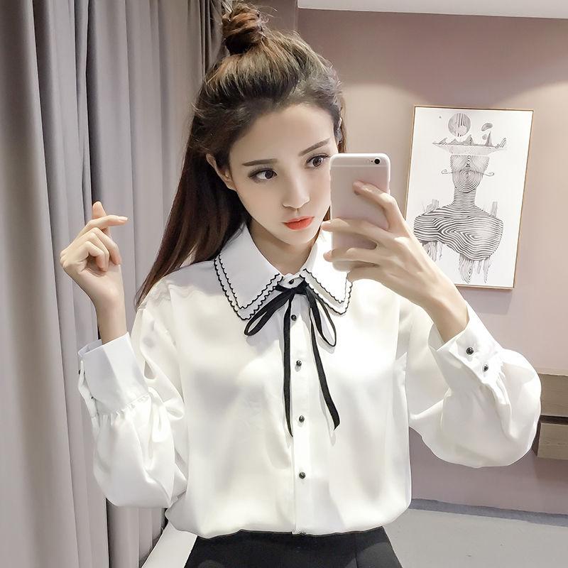 韩版宽松百搭学生蝴蝶结雪纺白衬衫女长袖