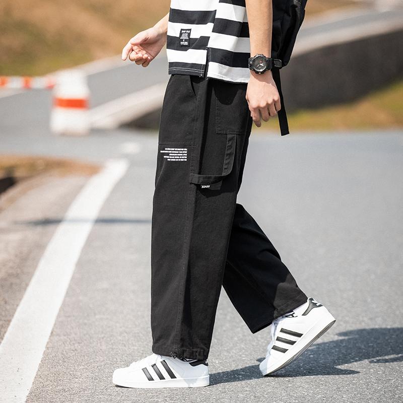2020新款休闲短裤男宽松韩版潮流港风九分裤直筒阔腿裤子男裤