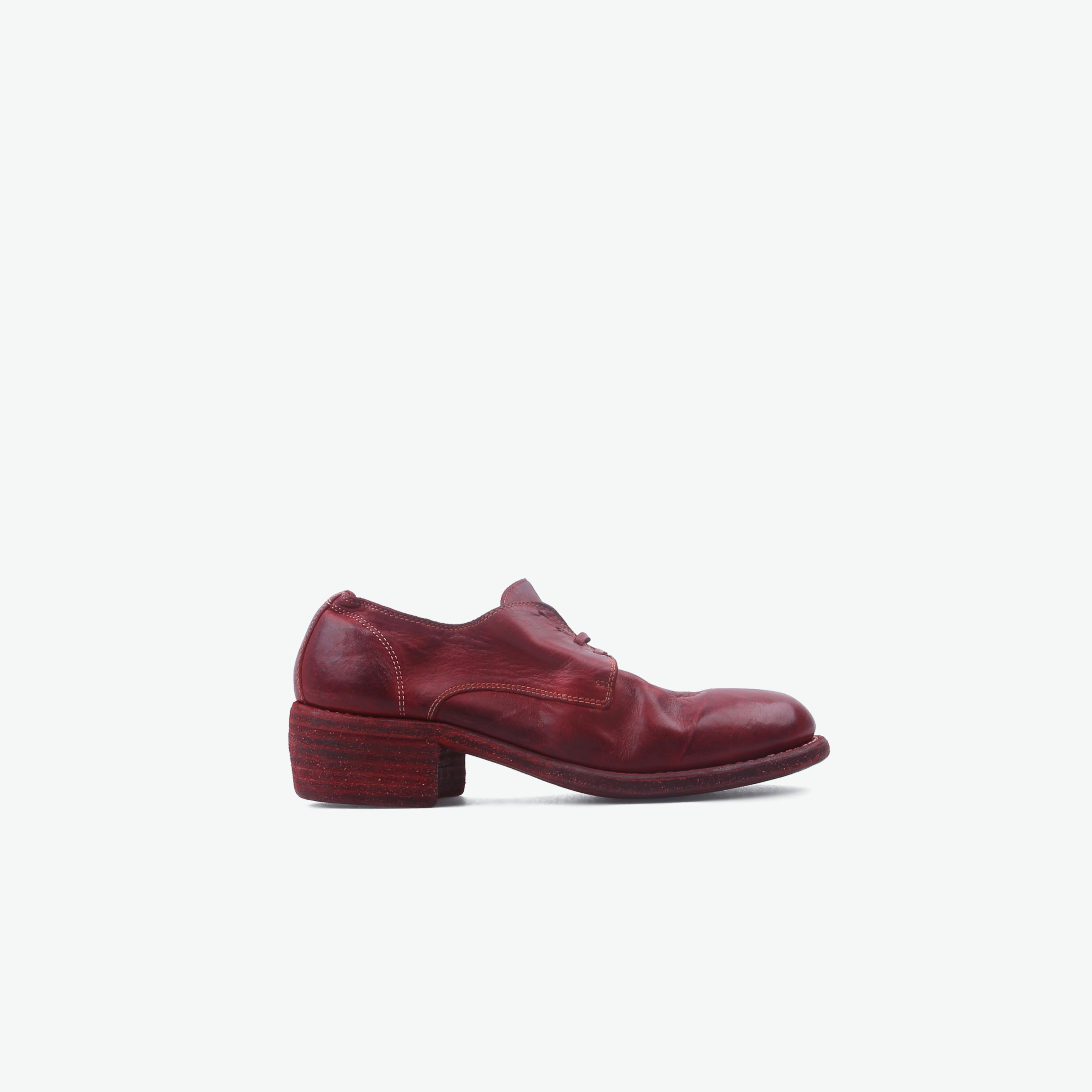 GUIDI酒红色马皮系带792休闲皮鞋792-LINED-1006TRED