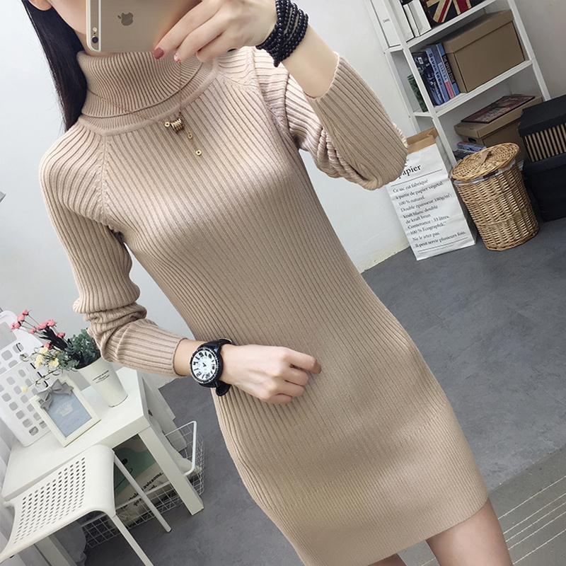 高领中长款毛衣女修身加厚连衣裙