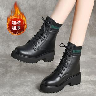 女士高跟鞋加絨馬丁靴中跟棉鞋防寒皮靴女鞋