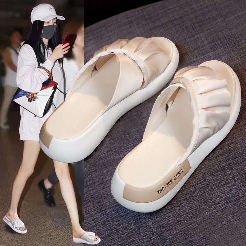 【明星同款】交叉带厚底拖鞋气质沙滩鞋女
