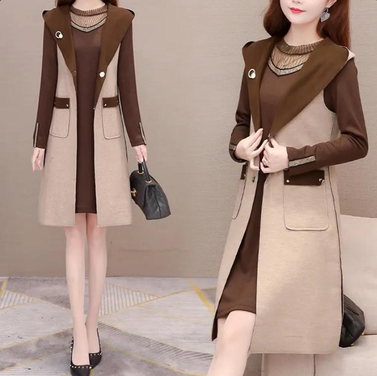 连衣裙套装女2021新款时尚韩版春秋中长款马甲长袖打底裙两件套潮