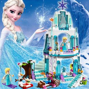 益智城堡冰雪奇緣公主木拼裝玩具