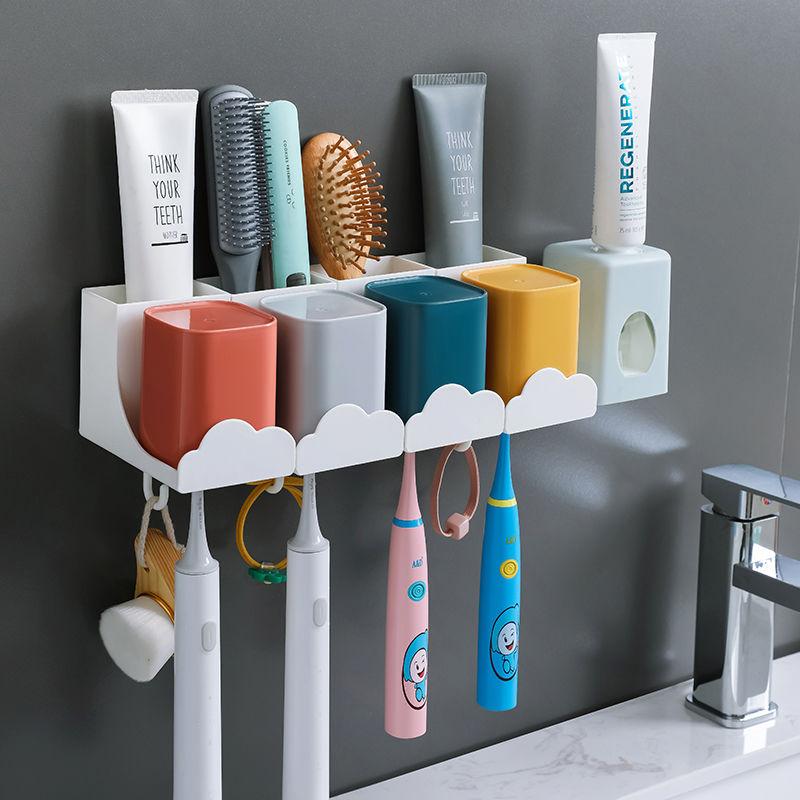 壁挂免打孔牙刷杯子套装置物架牙刷架