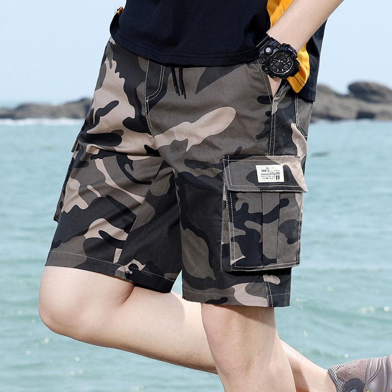 夏季纯棉中裤宽松休闲工装五分短裤