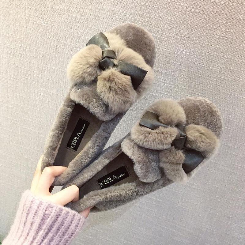 羊糕毛豆豆鞋女冬加绒2020新款时尚棉鞋女懒人一脚蹬≡毛毛鞋女外穿