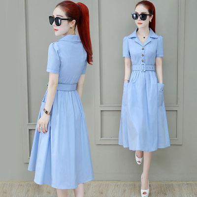 夏季连衣裙女中长款2020新款时尚韩版气质收腰清新两口袋裙子潮女