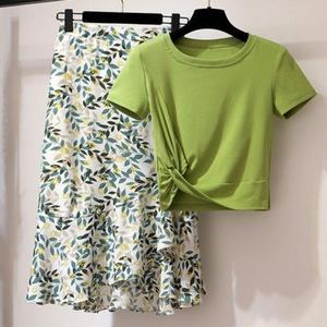 2020夏季新款套装裙两件套女韩版高腰不规则波点碎花半身裙P60