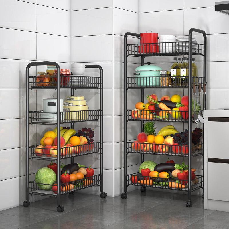 多层菜架多功能水果蔬菜收纳架厨房落地收纳筐储物小推车ㄨ置物架子