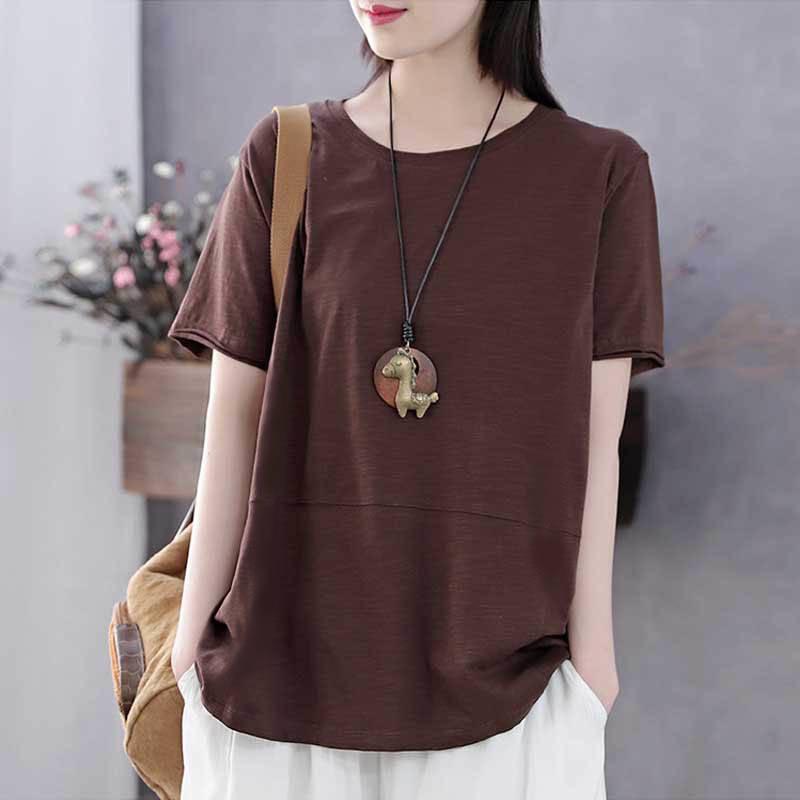 純棉短袖t恤女韓版寬松大碼女裝文藝復古2020春夏新款全棉上衣女