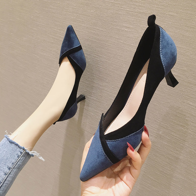 夏季新款黑色百搭细跟拼色高跟鞋