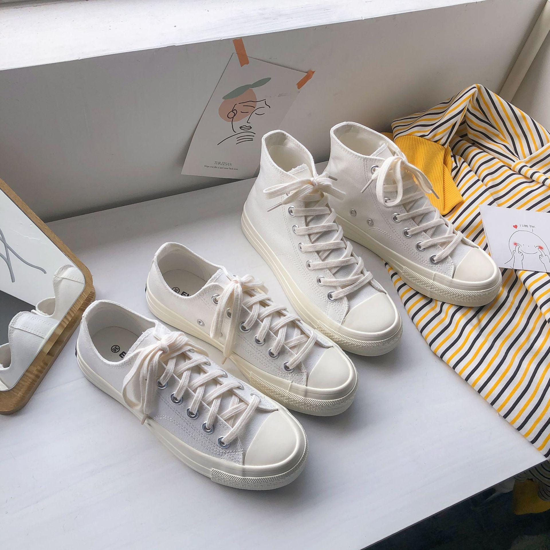 国潮经典1970s复刻爆款百搭白色帆布鞋