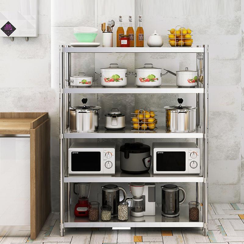 加厚≡不锈钢厨房置物架多层微波炉架落地多层厨房用¤品收纳储物架子