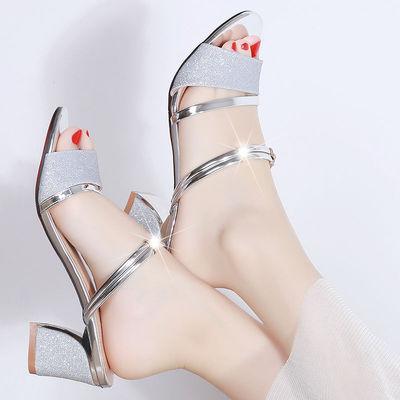 名欧鸟2021夏季新款女鞋粗跟中跟两穿凉鞋韩版女士高跟两穿一字拖