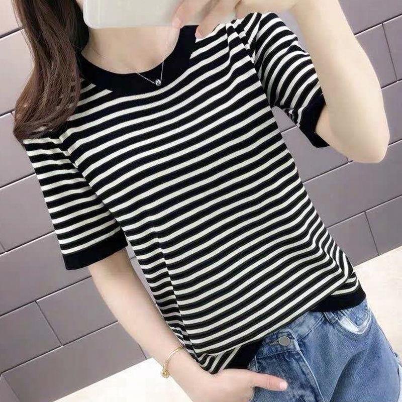 冰丝条纹短袖女薄款透气夏季新款T恤女短款