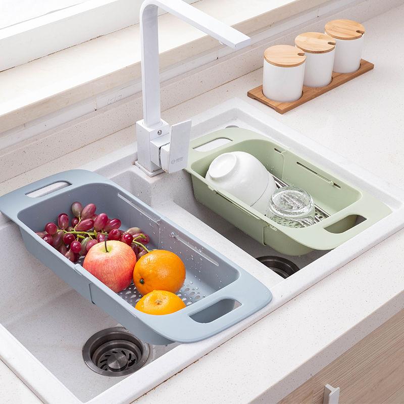 可伸缩水槽沥水篮置物架厨房碗架水池洗碗淘菜筐洗菜盆水槽沥水架