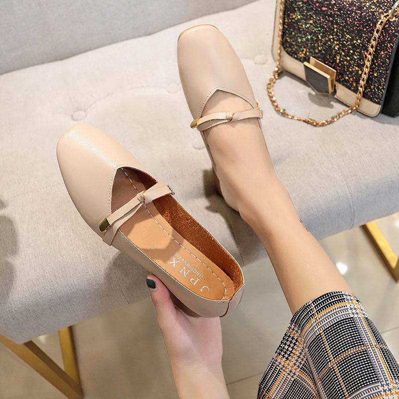 春款单鞋女2019新款女鞋韩版百搭时尚粗跟中跟方头小皮鞋32_淘宝优惠券