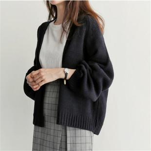 慵懒风宽松短款针织开衫纯色毛衣外套