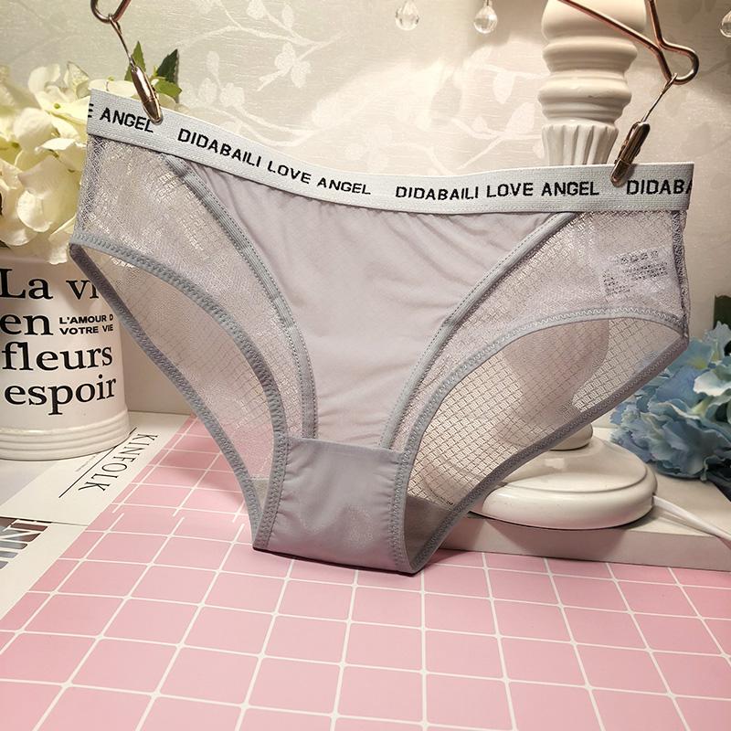 Quần lót ren nữ cảm giác trong suốt quan điểm quyến rũ tóm tắt phụ nữ sinh viên cotton đáy quần thoải mái quần đáy - Giữa eo