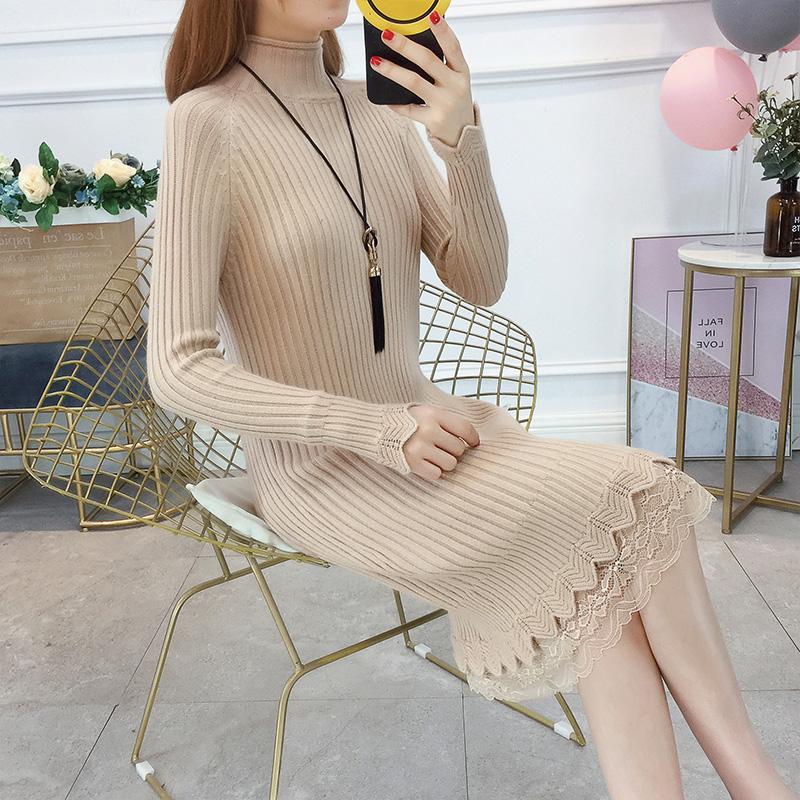 中长款蕾丝针织连衣裙女2018新款韩版显瘦套头毛衣裙半高领打底衫