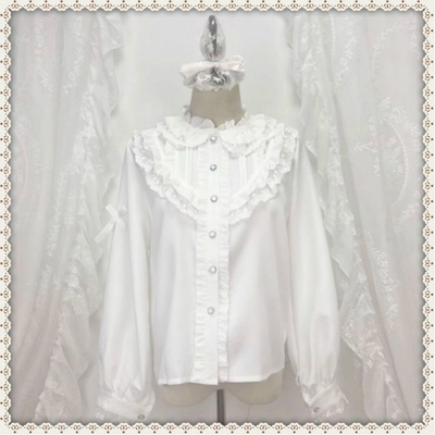 taobao agent White shirt early autumn Lolita lolita with lace long-sleeved white shirt female design niche top