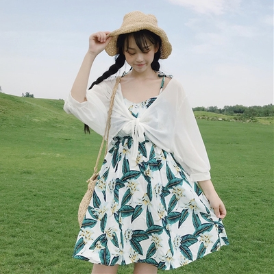 taobao agent Summer dress with suspenders, a blouse, short chiffon shawl, cardigan, sun protection clothing, women's top coat