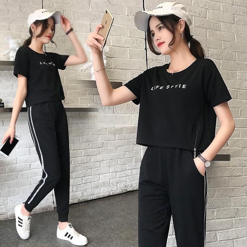 运动套装女夏天休闲两件套宽松运动服短袖九分裤2019夏季新款韩版