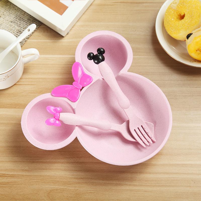 小麦秸秆米奇碗儿童餐具宝宝辅食水果餐盘家用防摔吃饭碗叉勺套装