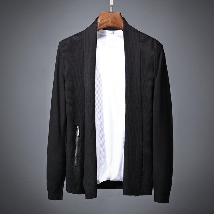 Sâu octave mùa xuân cardigan mỏng len tinh khiết không có túi dây kéo trang trí thời trang nam phần mỏng đan cardigan