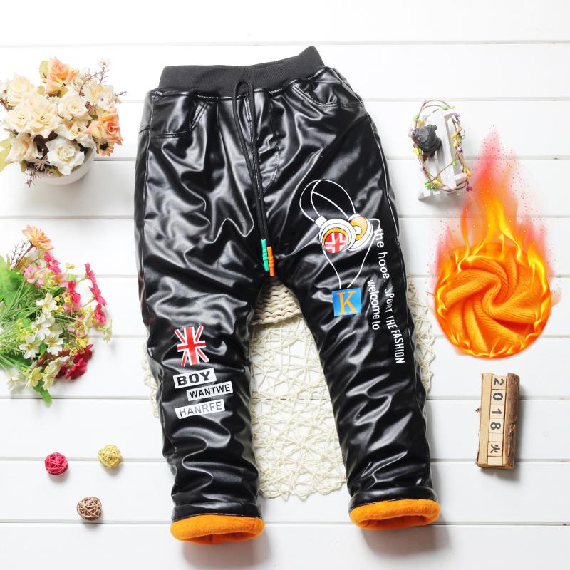 中大男童皮裤儿童长裤男孩加绒加厚裤子