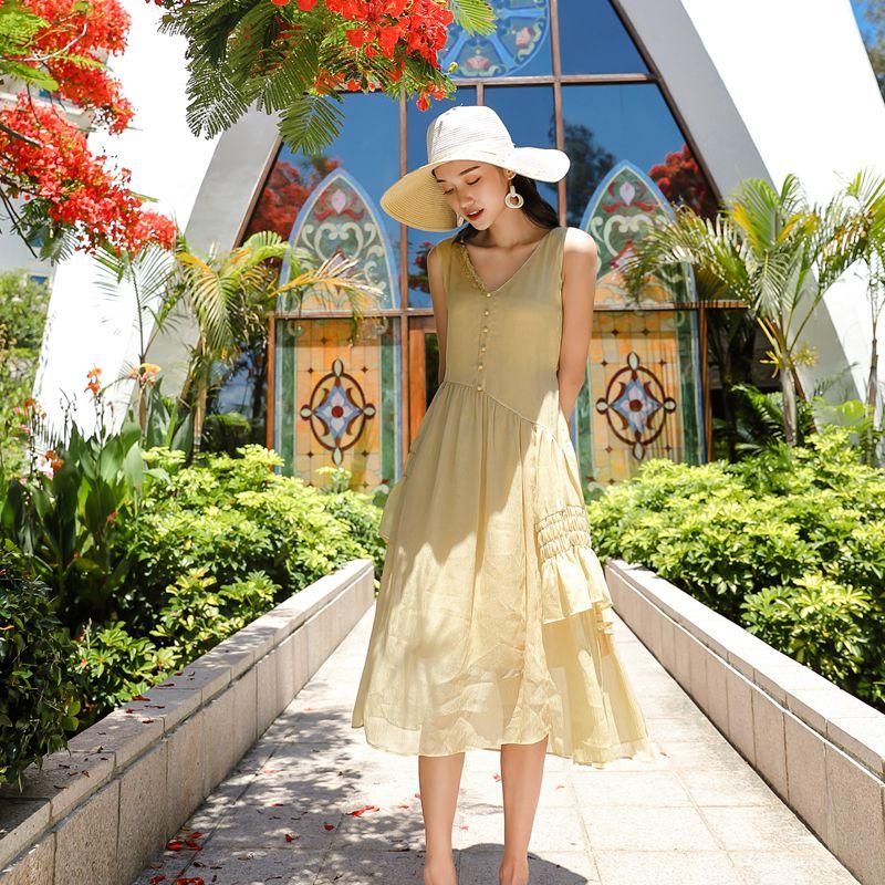茉莉和扶苏《樱草》樱草黄荷叶边不对称肌理感连衣裙