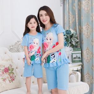 实拍2018夏季女童母女亲子短袖睡衣两件套公主夏天睡衣家居服9001