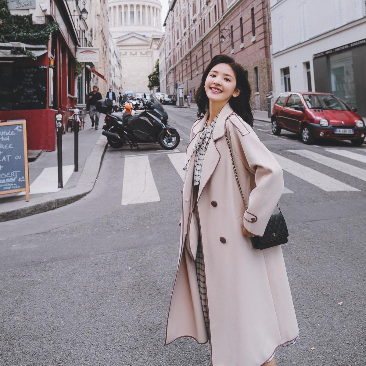 Phần mỏng áo gió nữ phần dài 2018 mùa thu mới của Hàn Quốc phiên bản của tính khí lỏng mỏng trên đầu gối chic coat mùa xuân và mùa thu