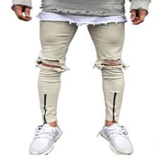 欧美高街男士弹力修身小脚拉链破洞牛仔裤乞丐裤浅色款青少年长裤