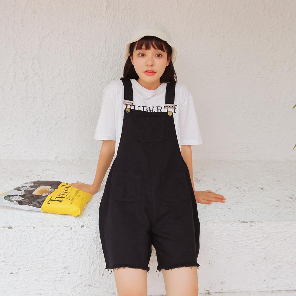 实拍5818#春季韩版学生可爱宽松减龄阔腿连体裤背带短裤 1