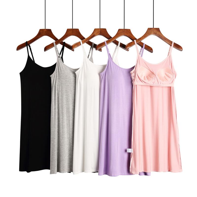 Đồ ngủ của phụ nữ với miếng đệm ngực áo ngực không có áo ngực tất cả trong một mỏng mỏng phương thức đồ ngủ rộng kích thước lớn trong váy - Đêm đầm
