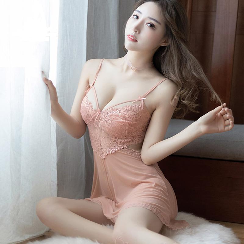 情调衣人少女肉粉蕾丝吊带透明性感睡衣美体小胸甜美可爱网纱睡裙