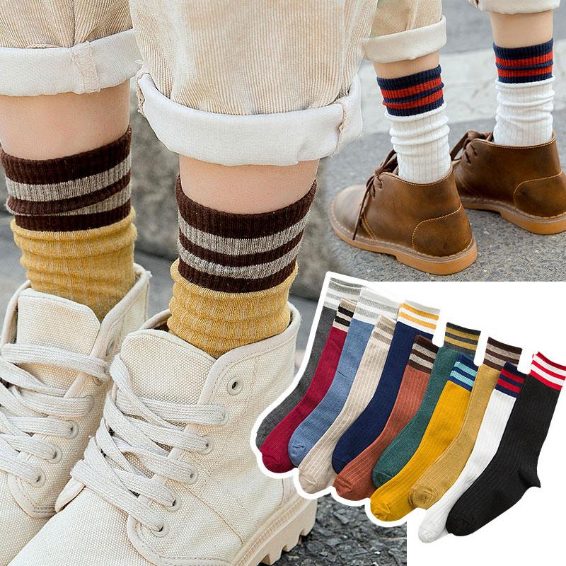 袜子女秋冬中筒袜韩版堆堆袜半筒棉袜学院风春夏长袜二杠条纹森系