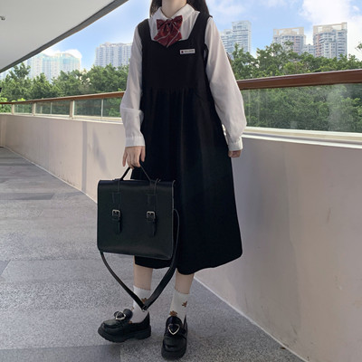 taobao agent 2021 new sweet college style skirt female Japanese jk strap skirt mid-length dress + shirt spring and autumn