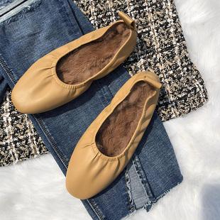 【网红同款】兔毛毛鞋豆豆鞋女秋冬外穿单鞋